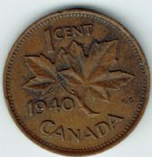 Canada, George VI, One Cent 1940, VF, WB5953
